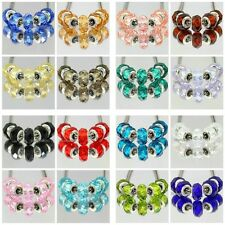 20 Colours Silver Sparkling Faceted Crystal Beads fit European Charm Bracelet