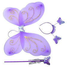 3pcs Girls Fairy Costume Butterfly Party Wings Wand Princess Headband Beauty Hot