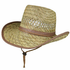 Childrens 100% Natural Straw Cowboy Stetson Hat Kids Girls Boys Summer Wide Brim