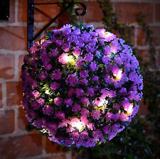 28cm Purple Rose Flower Solar Topiary Ball With 20 Led Lights - Dual Function