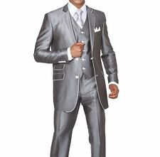 Men's Slim Fit Suits Set Wool Feel with pants and vest included Dk. Grey 5702V1