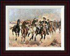 Dismounted: The 4th Troopers Moving by Frederic Remington Framed Painting Print