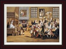 Scene In a London Coffee House by English School Framed Painting Print