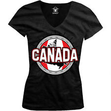Canadian Sun Flag Crest - Canada Pride Nationality Juniors V-neck T-shirt