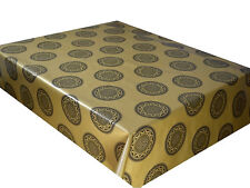 Gold Embossed wipe clean PVC tablecloth Oilcloth Vinyl