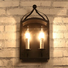 Black Metal Lantern Shade 2 Candle Lights Vintage Indoor Wall Light Sconce Retro