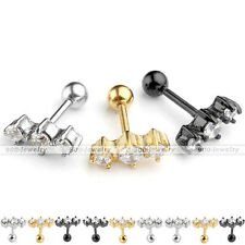 16G CZ Barbell Ear Tragus Cartilage Helix Studs Stainless Steel Earring Piercing