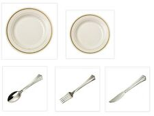 China Disposable Plastic Plates Ivory w/Gold Trim + Cutlery Wedding Reception