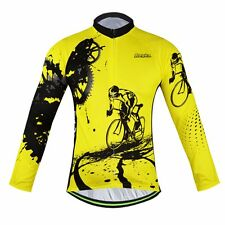 Winter Cycling Clothes Men's Long Sleeve Cycling Jersey Bike Riding Shirt Yellow