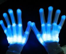 Unisex  Flashing green,blue or red Gloves LED Rave/Punk Light Strobe, onesize