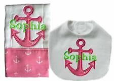 New Personalized Embroidered Handmade Pink Anchor Nautical Bib Burp Cloth Sets