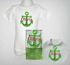 Embroidered Personalized Baby Green Nautical One Piece Bib and Burp Cloth Set