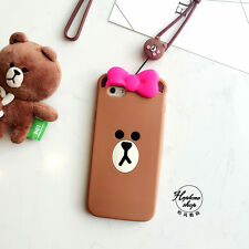New 3D Popular Lovely Korean style silicone Brown Bear Case For iPhone 6 6s Plus