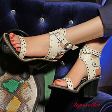 Retro Roma Womens Gladiator Block Heels Ankle Strap Buckle Sandals Punk Shoes
