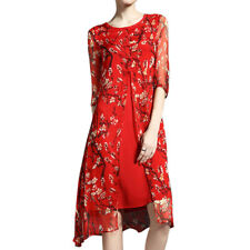 Women Frog Button Closed Floral Prints Split Mid-Calf Dress