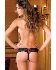 Rene Rofe Crotchless Lace Thong w/Lace Up Back Black intimate apparel wear