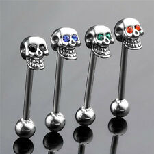 14G Stainless Steel CZ Gem Skull Silvery Tongue Barbell Ring Bar Body Piercing B