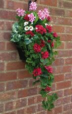 (GREENWOODS) R/G NEW GARDEN WALL HANGING BASKET & ARTIFICIAL PLANTS ( RED )