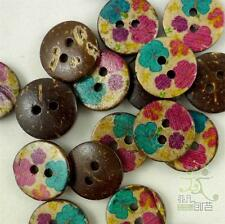 20/100pcs Flower Coconut Round Buttons 15MM 2 holes Craft/Kids Sewing Scrapbook