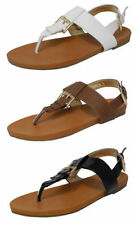 Womens Ladies Leather Look Toe Post Thong Sandals Black White Brown 4 5 6 7 8