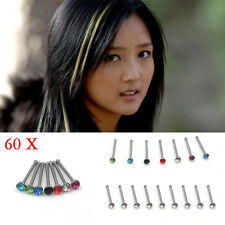 60x Wholesale Mixed Lot Color Rhinestone Nose Ring Studs Body Piercing