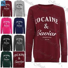 Womens Cocaine and Caviar Oversized Baggy Fleece Pullover Jumper Sweatshirt Top