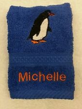 A PERSONALISED PENGUIN FACE CLOTH NAME CHRISTMAS GIFT FLANNEL EMBROIDERED!
