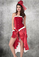 Women's Christmas Baby Burlesque Santa Fancy Dress Costume Corset Style with Hat