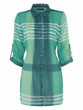 Roman Originals Womens Ladies Green Checked Pleated Blouse Top Roll Sleeves