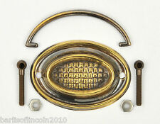 """Solid Brass Plate Handle/Cabinet/Drawer/Knob/Armac/Oval/3 3/8""""/*PICK QUANTITY*"""