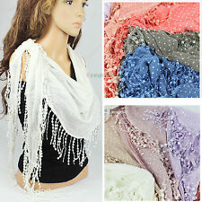 Fashion Womens Dot Print Lace Tassel Cotton Triangle Scarf Ladies Shawl Wrap New