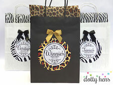 PERSONALISED HEN PARTY FAVOUR BAG -LEOPARD- GIFT BAGS WITH BOW