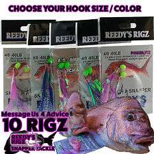 10 Snapper Snatchers Rigs Tied Paternoster Rig 60lb Leader Circle Hook flasher