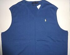NEW POLO RALPH LAUREN MENS BIG & TALL PIMA COTTON BLUE SWEATER VEST LT XLT 3LT