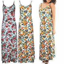 Womens Floral Roses Summer Ladies Printed Strappy Sleeveless Long Maxi Dress