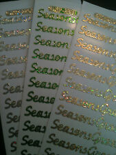SEASONS GREETINGS GOLD  SILVER GREEN HOLOGRAPHIC PEEL OFF STICKER