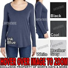 American Apparel Ladies Lightweight LONG SLEEVE Scoop Neck T-Shirt S, M, L, XL