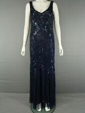 JOHN LEWIS HAND DECORATED LONG MIDNIGHT BLUE EVENING DRESS SIZE 12-18 - RRP £199