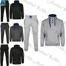 Mens Contrast Fleece Jogging Suit Hooded Tracksuit Bottoms Trousers Pants Tops