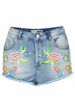 TOPSHOP MOTO EMBROIDERED DENIM HOTPANTS SIZE 6,8,12 BNWT