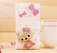 Pink Bow 3D Hello kitty Bling Wallet Leather Stand Case Cover For Samsung Apple