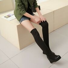 Womens Wedge Hidden Heel Knee High Booties Suede Pieced Pull On riding Boots New