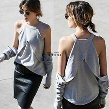 Women Sexy Halter Neck Off Shoulder Long Sleeve Casual Loose T Shirt Blouse Tops