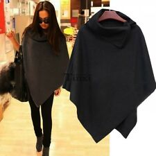 Women Batwing Top Poncho Cape Asymmetric Cardigan Casual Jacket Coat Cloak TXCL