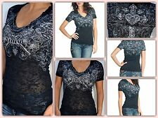 Sinful by Affliction VIXEN - Woman's Short Sleeve Burnout T-Shirt! FREE SHIPPING