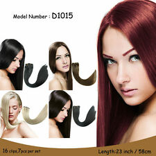 16clips 7piece/set hair piece clip in hair extensions heat resistant straight