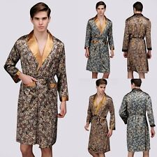 Men Mens Satin Silk Pajamas Kimono Long Robes Gown Loungewear Sleepwear Bathrobe