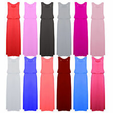 Womens Puff Ball Toga Racer Back Sleeveless Jersey Ladies Long Top Maxi Dress