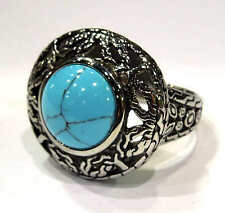 Woman's stainless steel antique blue turquoise ring  USA size  8, 9, 10, 11