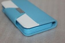 Blue White wallet case Cover with strap card slot  For Apple Iphone 5 5s 5c SE